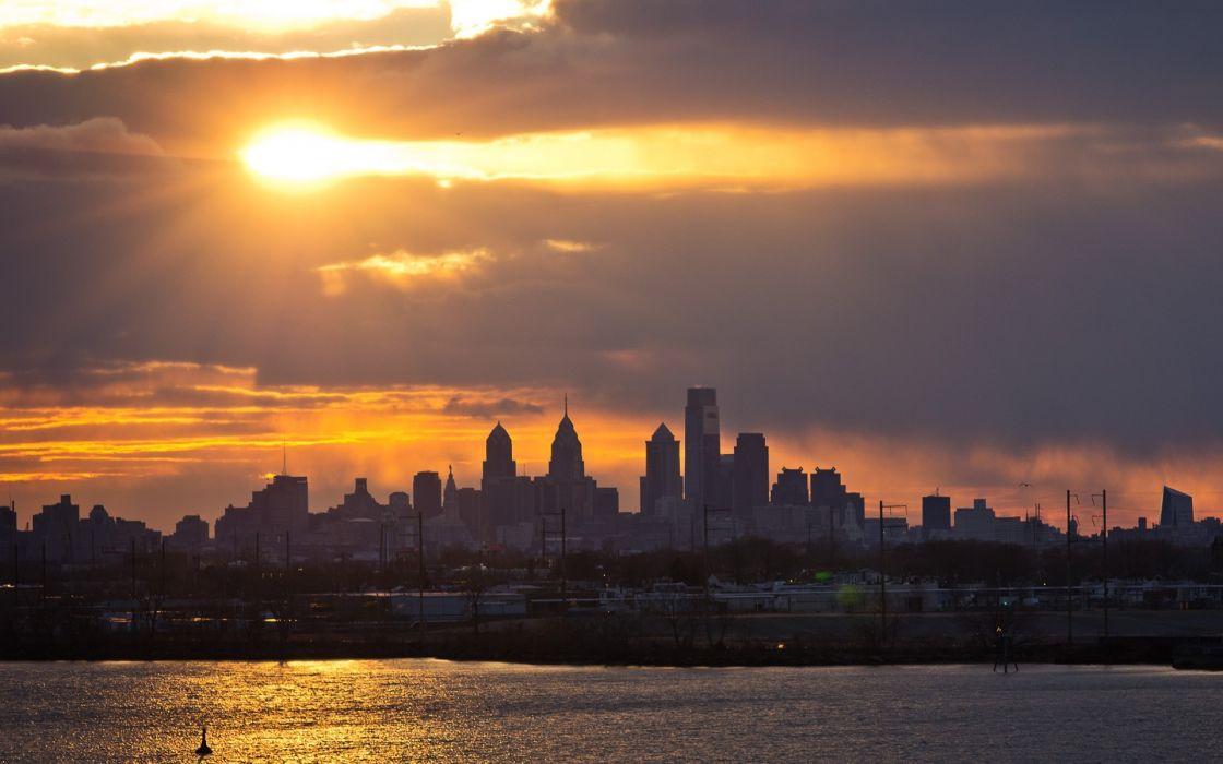Cityscapes Skylines Philadelphia lakes rivers sky clouds sunset sunrise wallpaper