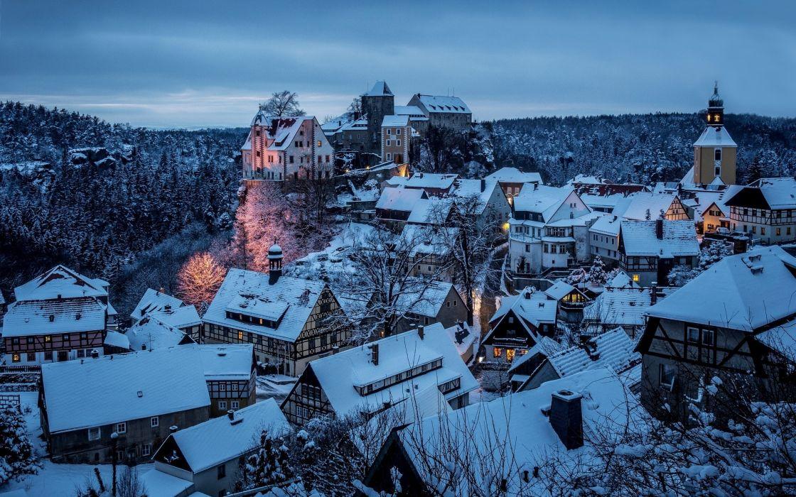 Honshtayn Saxon Sachsische schweiz Germany town winter snow night sky roof wallpaper