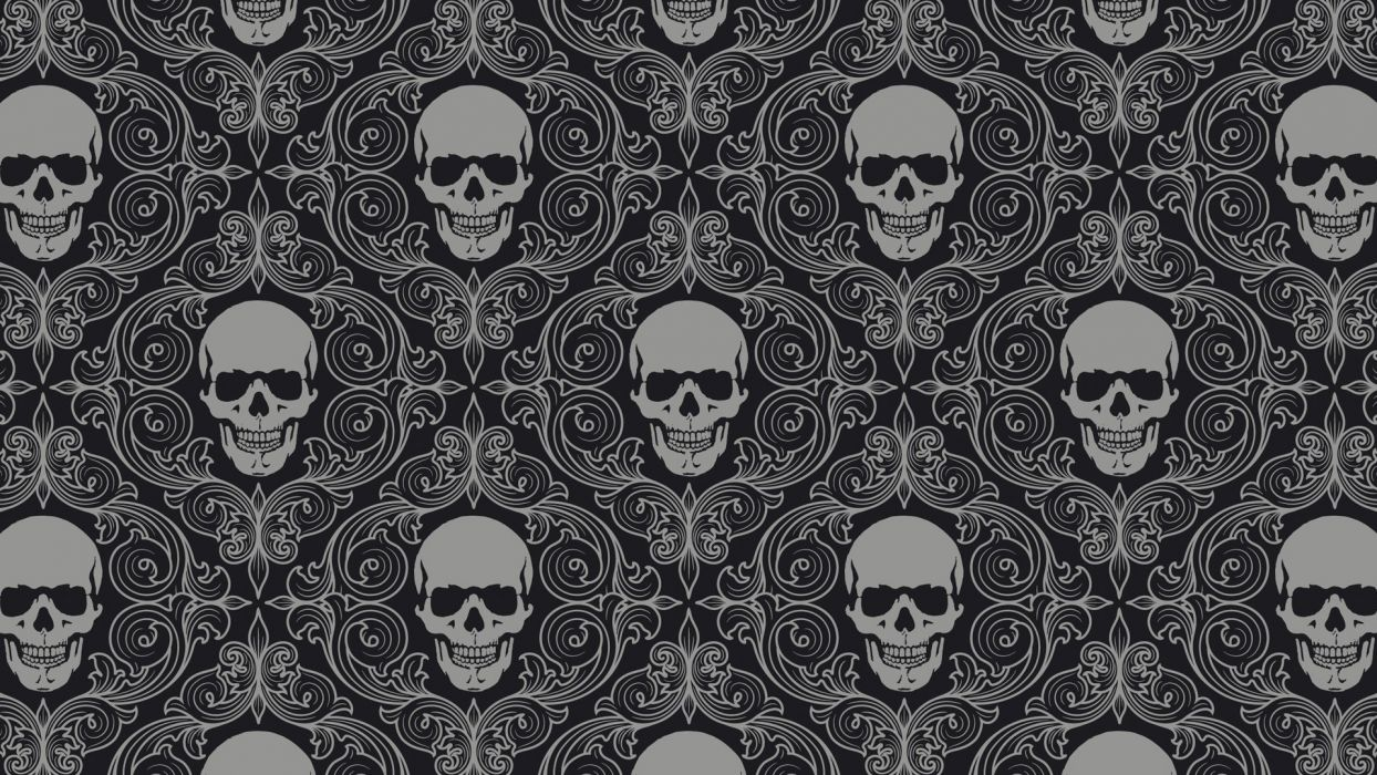 dark horror skulls pattern wallpaper
