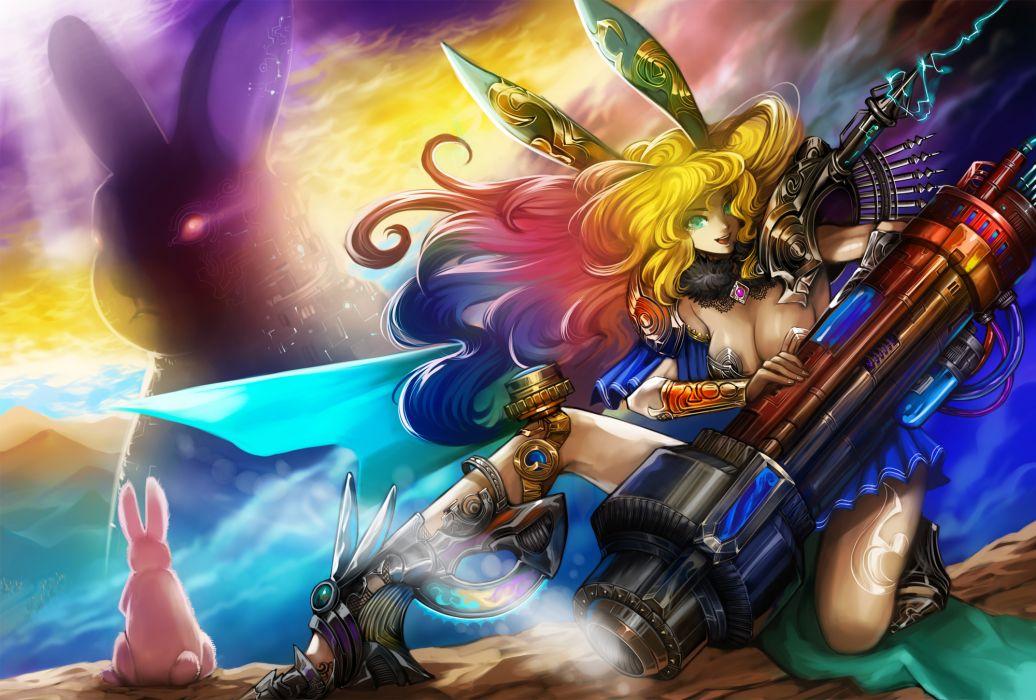 original art sci fi girl women cleavage blondes rabbit color weapons guns wallpaper
