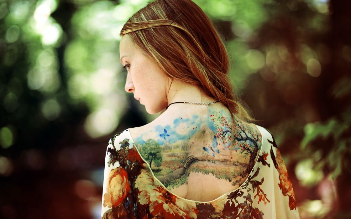 tattoo mood color buttuerfly landscapes bridges women models blondes sexy babes art style wallpaper