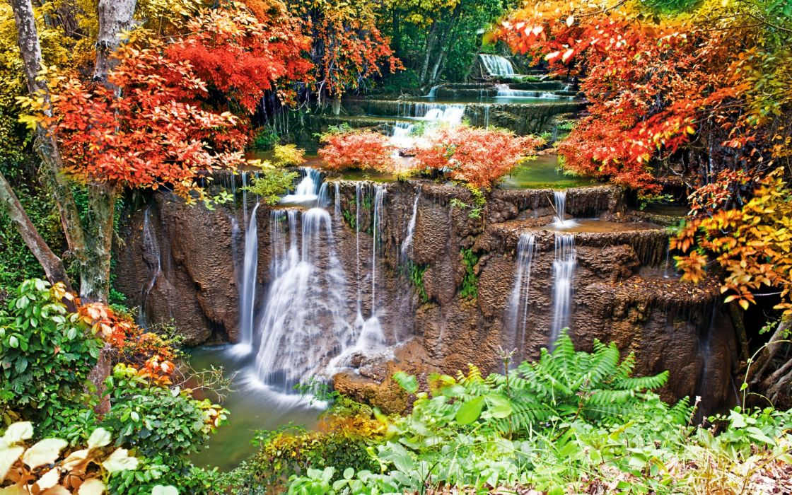 rivers streams landscapes cliff splash spray trees forest garden autumn fall wallpaper
