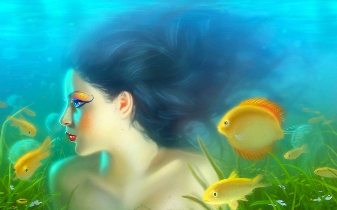 cg digital art fantasy mermaids women color ocean lakes fishes dream sexy babes wallpaper
