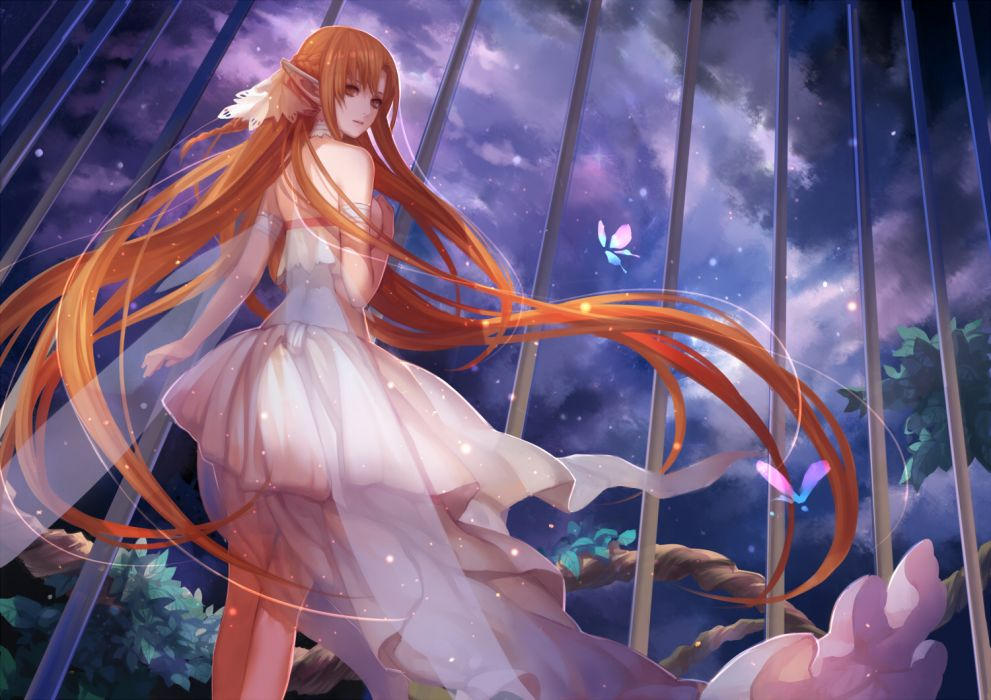 sword art online fantasy elf butterfly girl redhead cage sky stars anime wallpaper