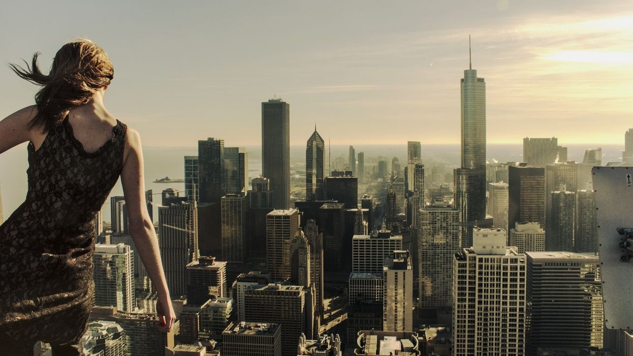 world cities skyline cityscapes architecture buildings skyscrapers sky clouds sun women mood brunettes scenic girl wallpaper