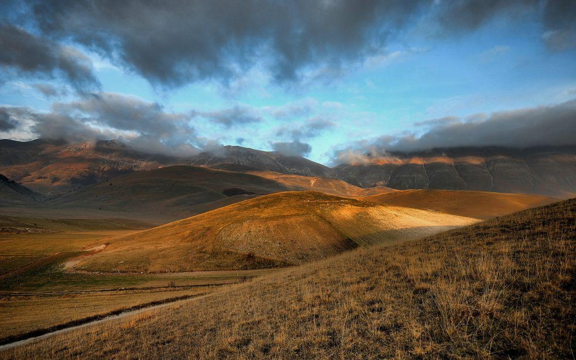 landscapes hills desert sky clouds fog wallpaper