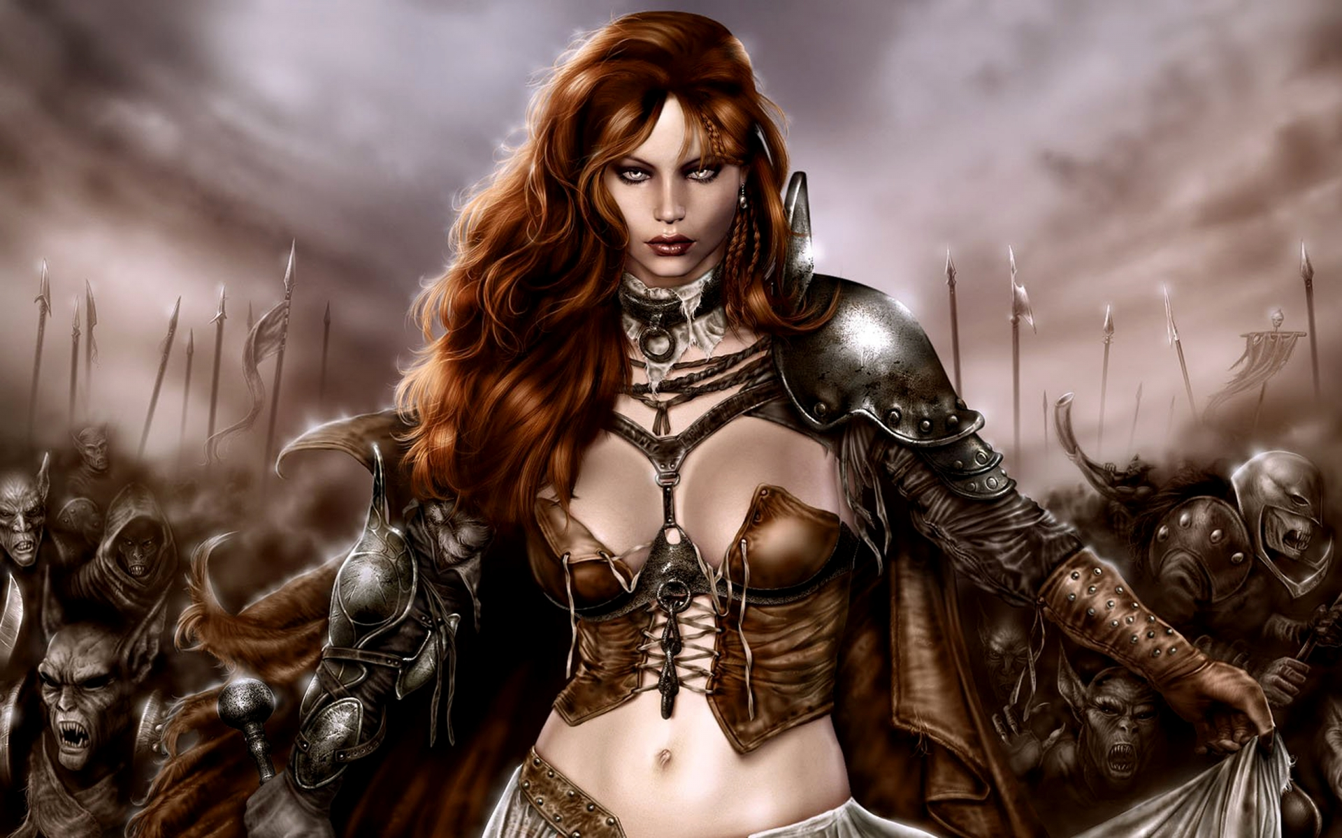 fantasy art warriors women redheads y babes army weapons moonsters
