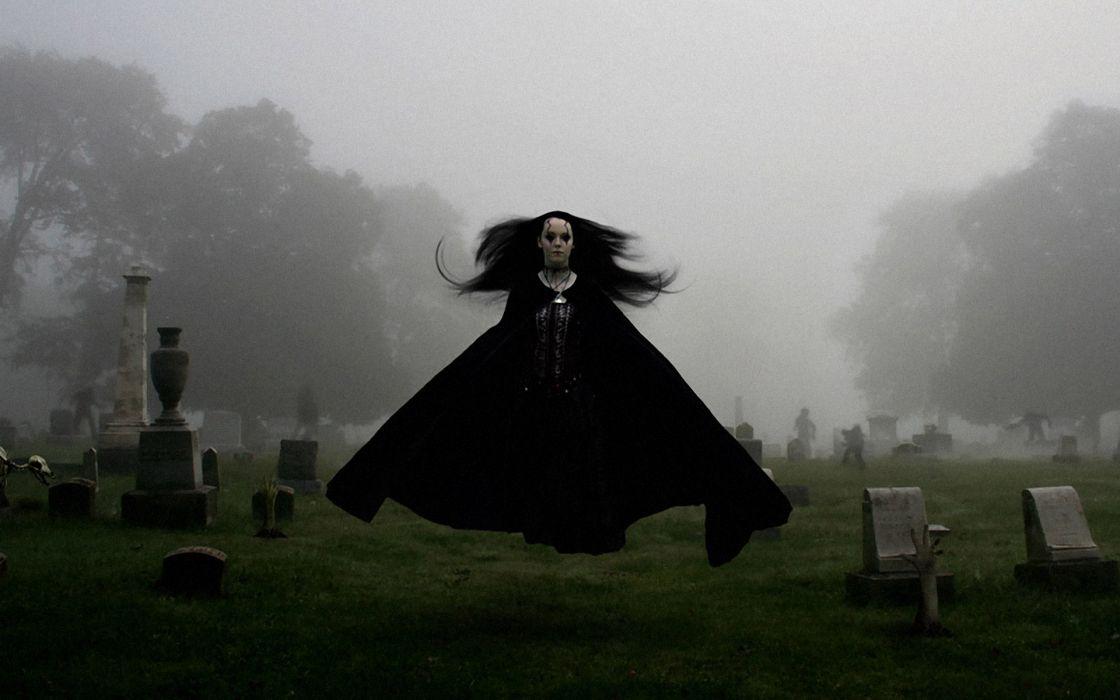 dark horror gothic ghost scary creepy spooky women girl mood sad sorrow grave cemetery fog cg digital art manip wallpaper