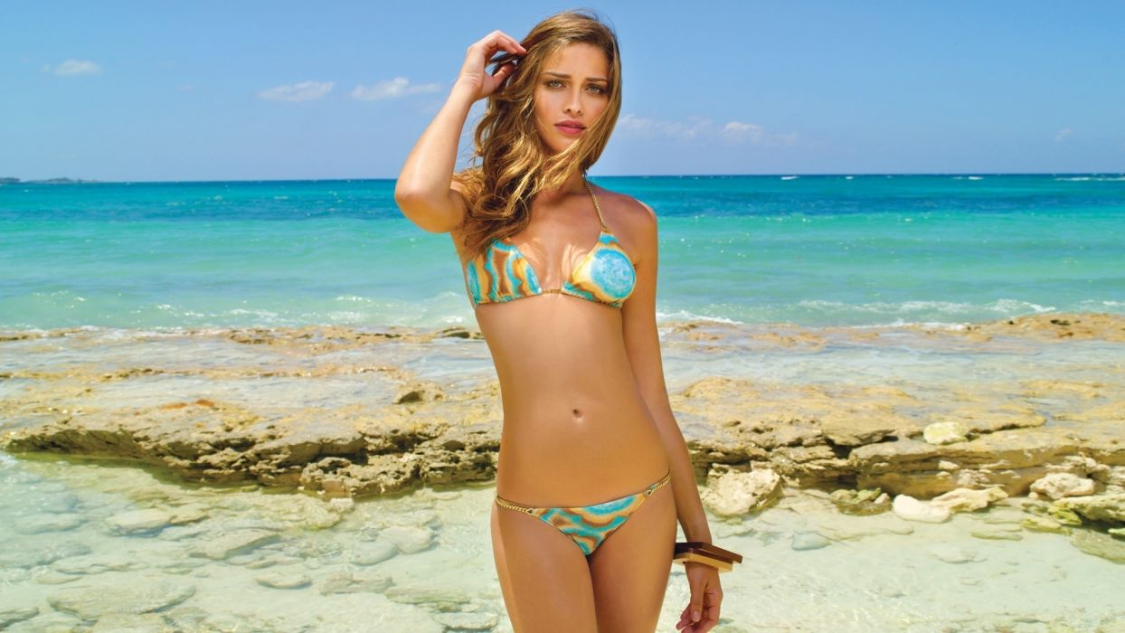 Ana Beatriz Barros women fashion models blondes brunettes sexy babes bikini swimwear beaches ocean wallpaper