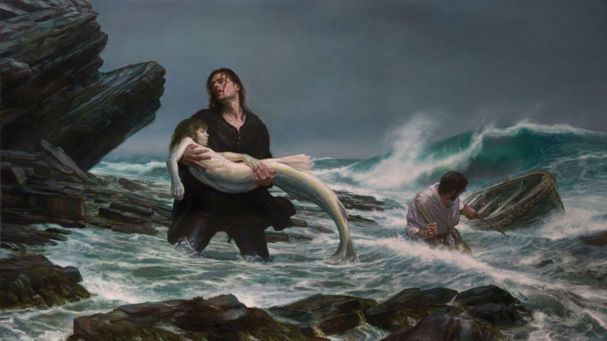 fantasy art mermaids storm waves beaches mood sad sorrow love art dark wallpaper