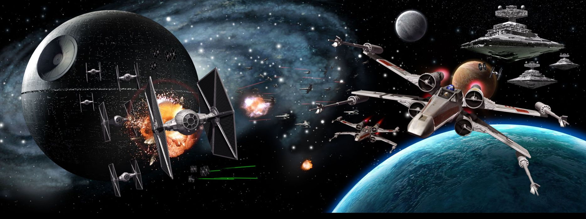 star wars Multi Monitor sci fi science battle death star outer space vehicles spaceships spacecrafts wallpaper
