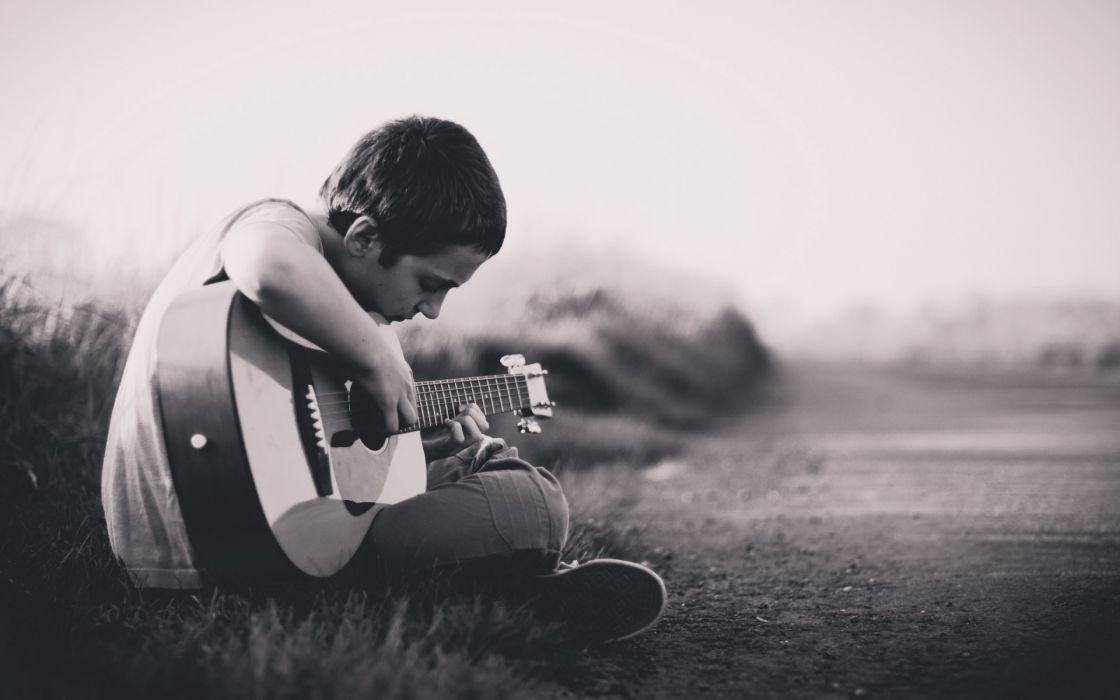 guitars men boy man black white roads mood wallpaper