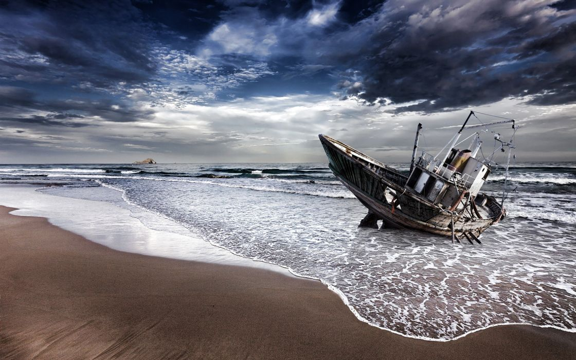 shipwreck decay ruin abandoned landscapes beaches ocean sand waves sky clouds mood hdr wallpaper