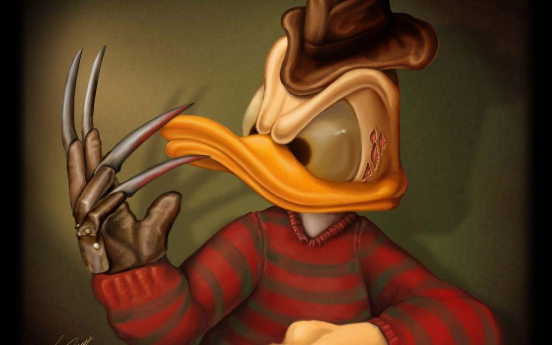 donald duck freddy krueger nightmare dark horror monster duck humor wallpaper