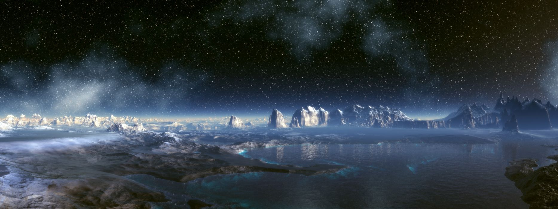 Multi Monitor Dual Screen landscapes planets sci fi science mountains lakes stars sky wallpaper