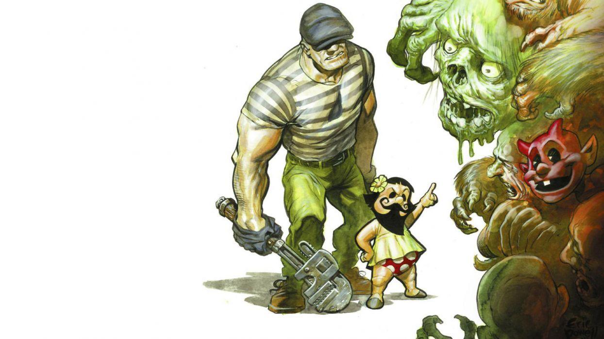 The Goon comics monsters creatures dark horror girls fantasy demons humor wallpaper
