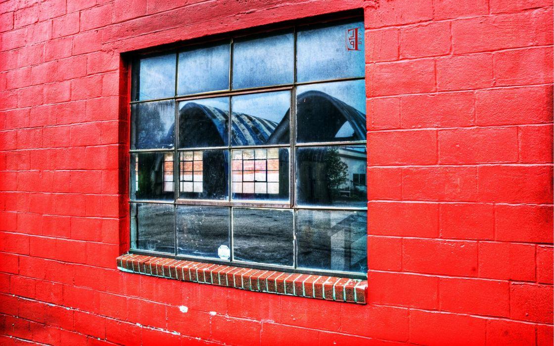red wall window wallpaper
