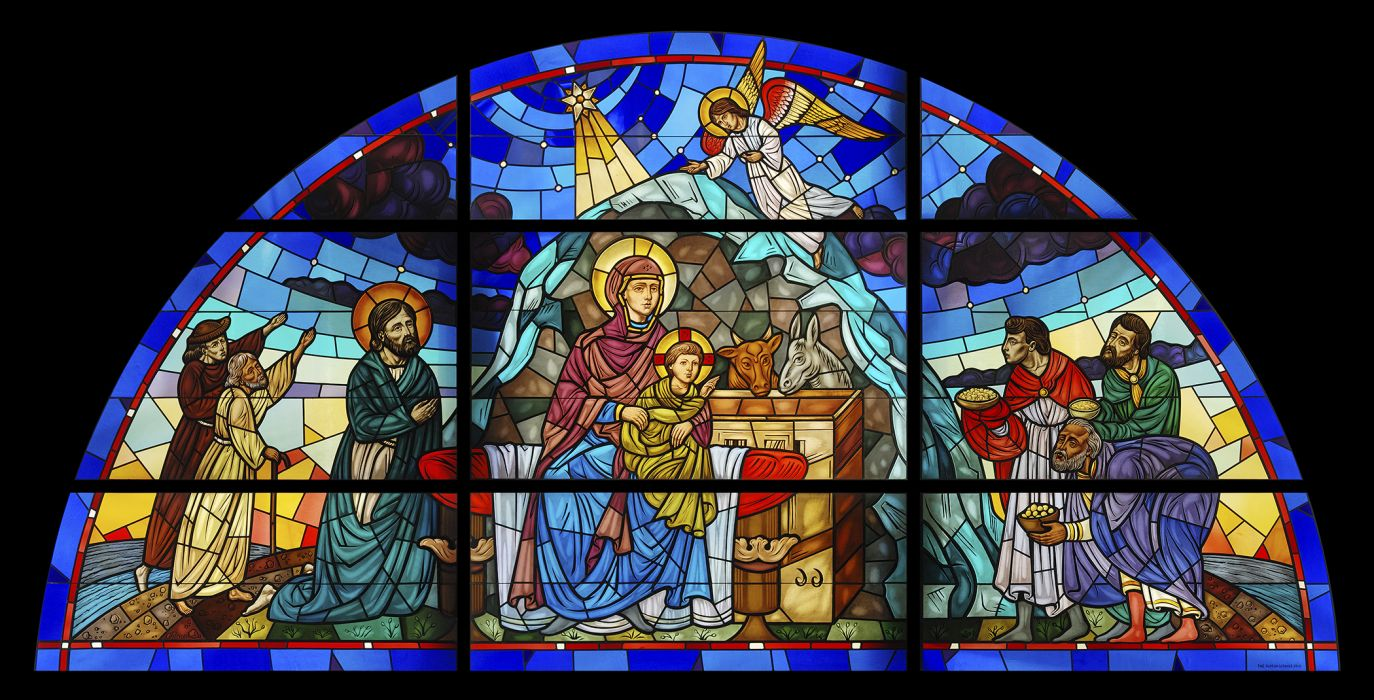 stained glass nativity christian catholic art mary jesus art cathedral church religion wallpaper