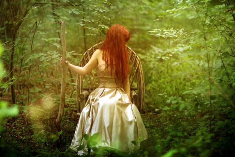 mood women redhead tranquil solitude peace alone gown nature trees forest leaves wallpaper