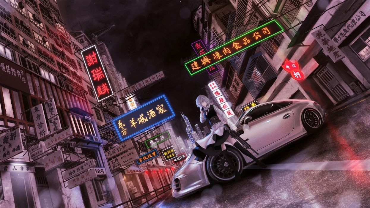 Touhou girl tuning cars cities night sign roads weapons guns assault rifle art wallpaper