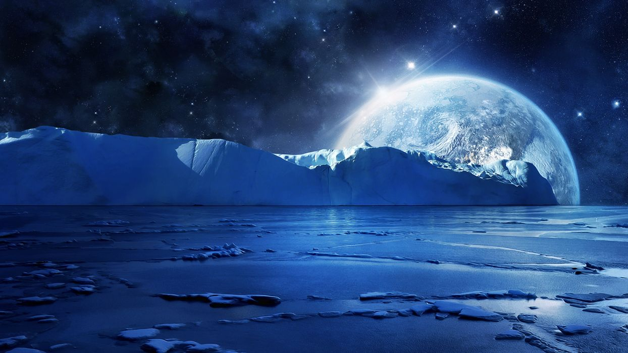 art manip cg digital landscapes artic winter ocean sea moon sky planets stars space wallpaper