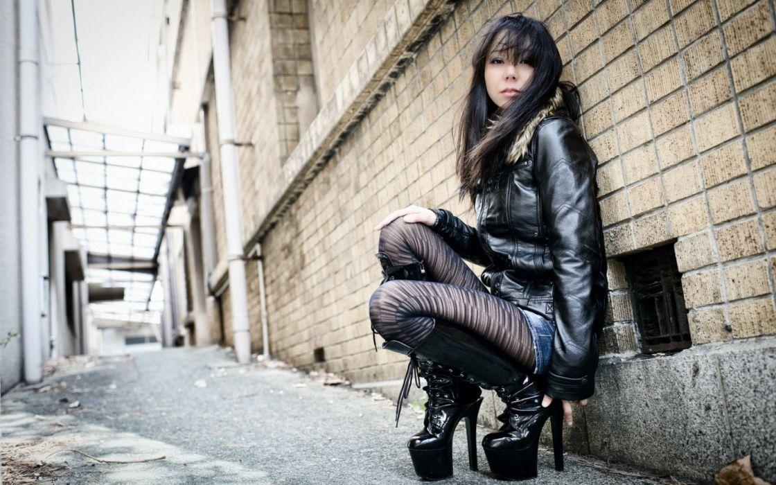 asian oriental women models brunettes hose stockings heels stil sexy babes wallpaper