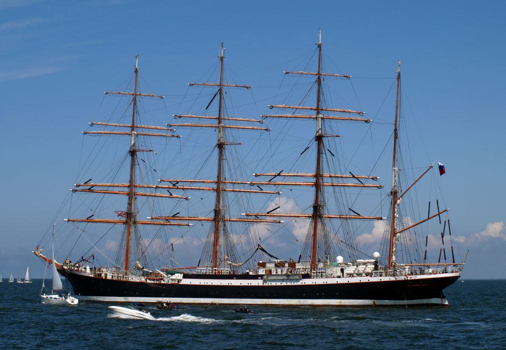 schooner ships boats clipper sailing ocean sea wallpaper