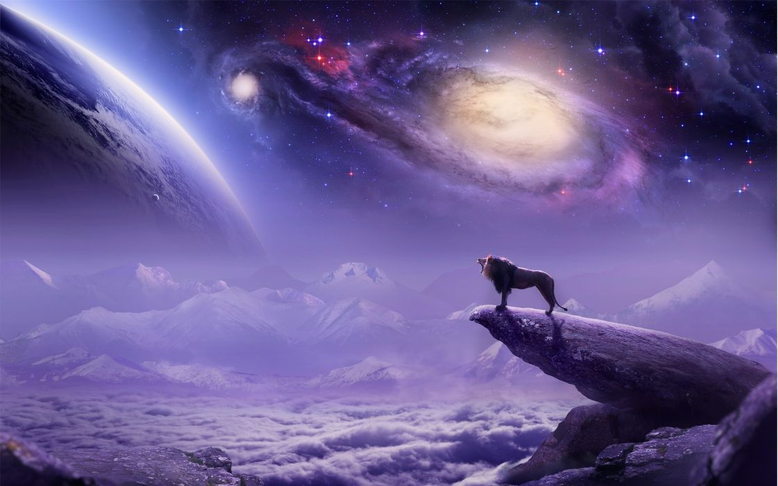 paintings airbrush cg digital art lion landscapes fantasy mountains clouds dream king sci fi sky stars planets galaxy nebula wallpaper