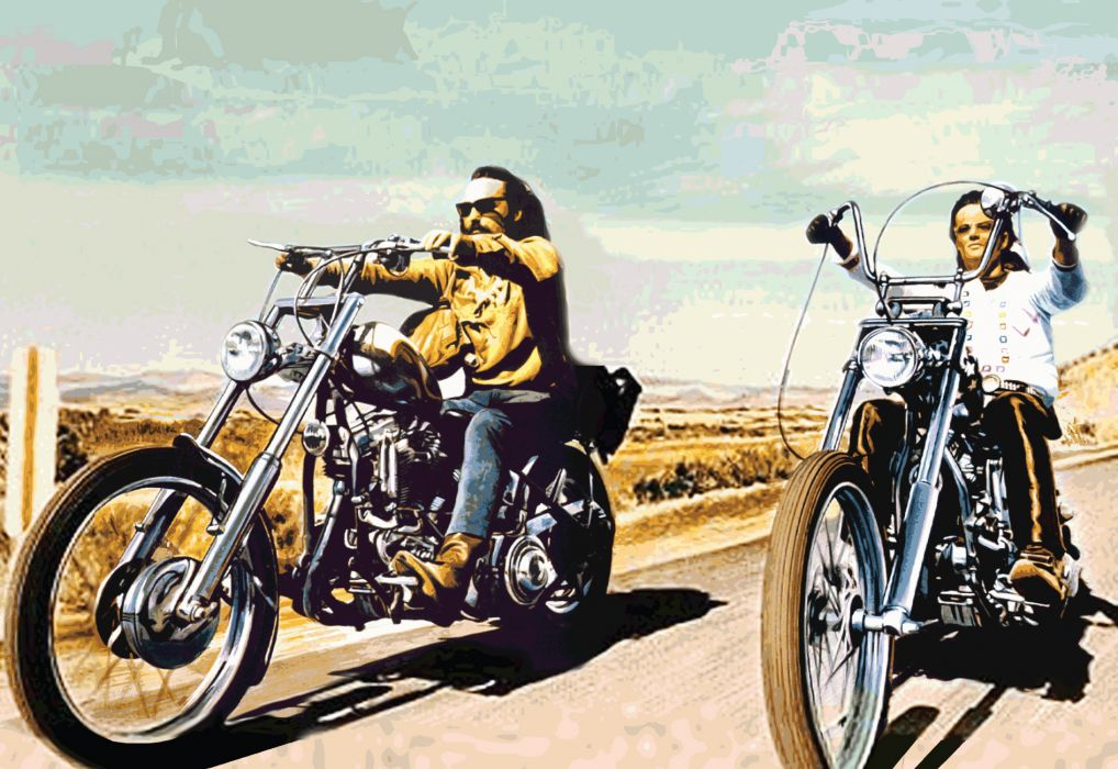Easy Rider biker chopper cruise roads art hippy vehicles motorcycles bikes sled sky clouds landscapes wallpaper
