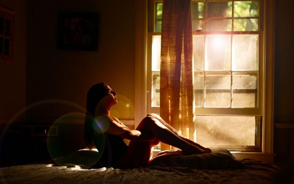 mood waiting alone sad reflection window sunlight beam ray glass women model brunettes sexy babes wallpaper
