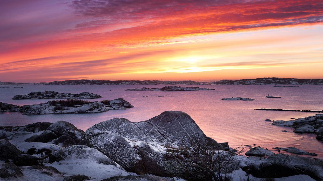 landscapes shore coast rock stone bay fjord water sea ocean sky clouds sunrise sunset wallpaper
