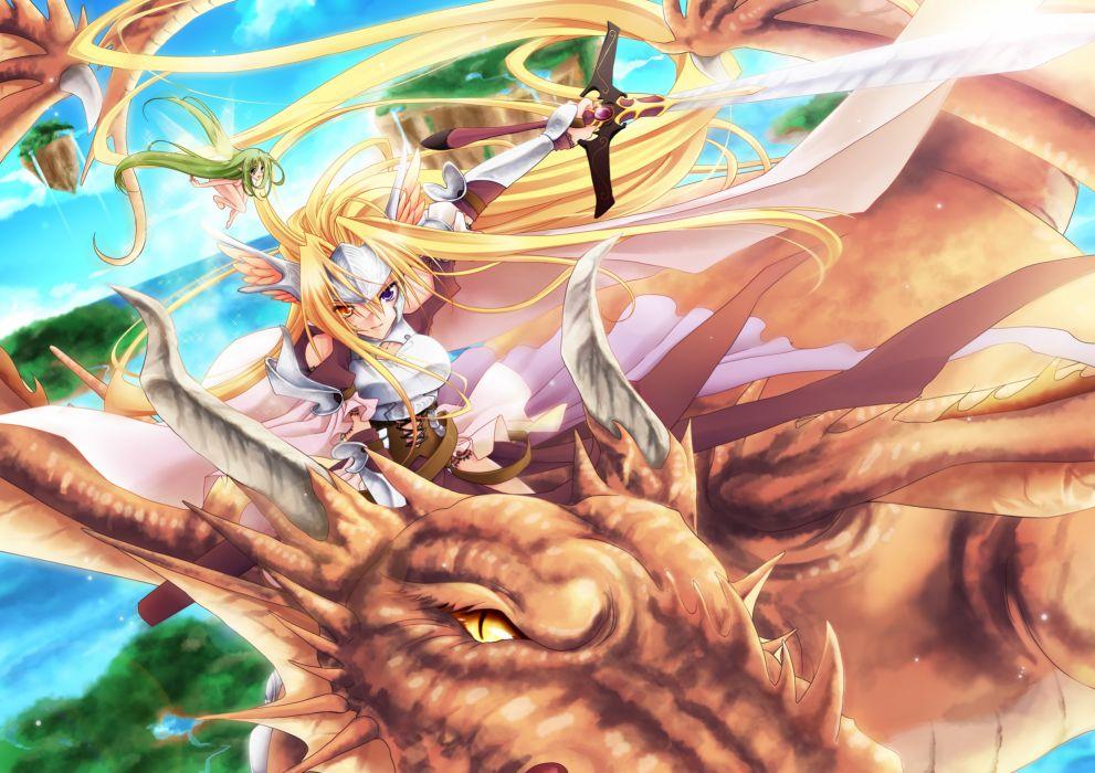 bicolored eyes blonde hair dragon fairy gray hair miyako910724 original sword weapon fantasy wallpaper