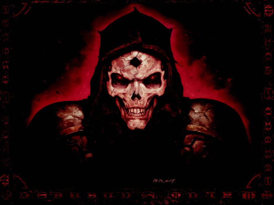 Diablo 2 Quake fantasy art dark horror skull evil scary spooky creepy face eyes wallpaper