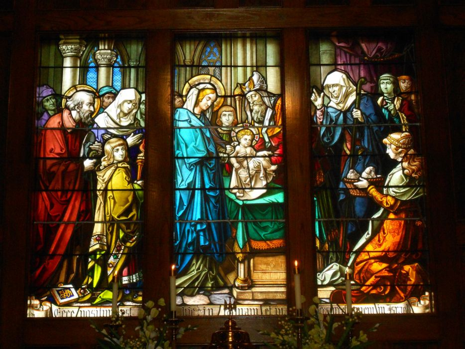 Our Lady of the Assumption stained glass religion catholic christian art window jesus wallpaper