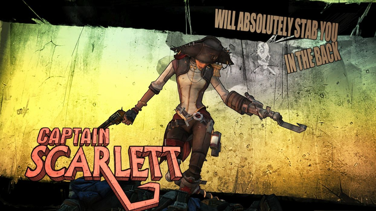 Borderlands Captain Scarlett fantasy pirate women sexy babes weapons guns video wallpaper