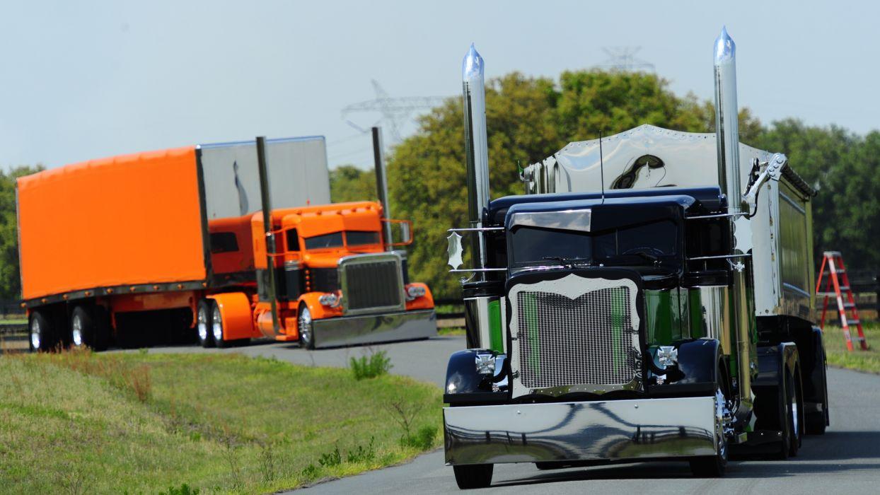 peterbilt big rigs tractor trailer custom tuning semi roads wallpaper