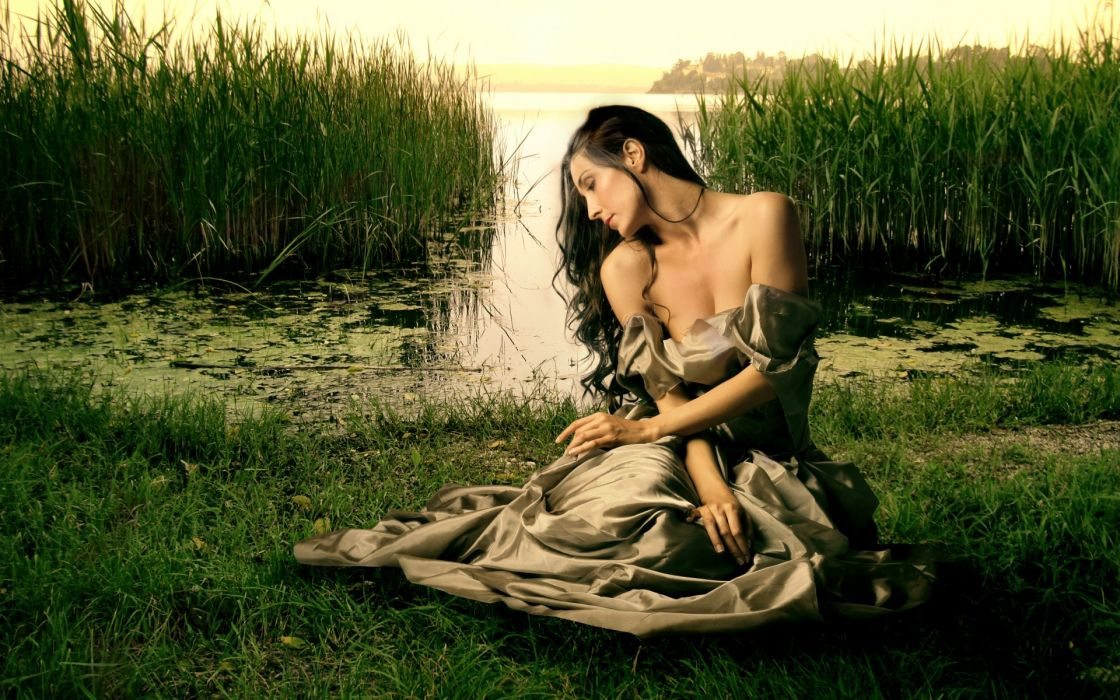 mood waiting sad sorrow alone women model brunettes gown dress retro sexy babes landscapes lakes grass reflection wallpaper