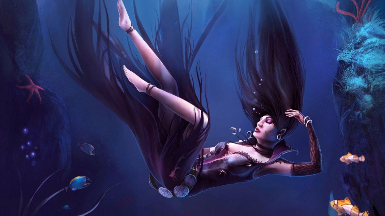 fantasy art cg digital art mood drown underwater ocean sea fish women gothic jewelry corset brunettes sexy babes girl wallpaper