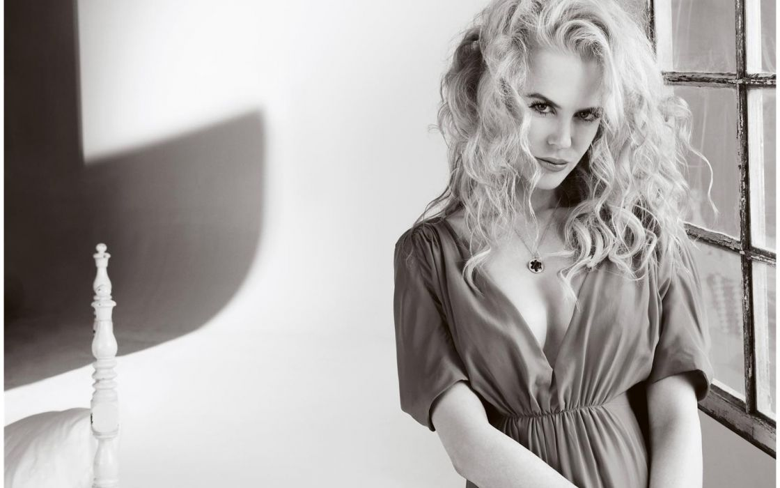 Nicole Kidman actress black white monochrome women models redhead aussie sexy babes cleavage wallpaper