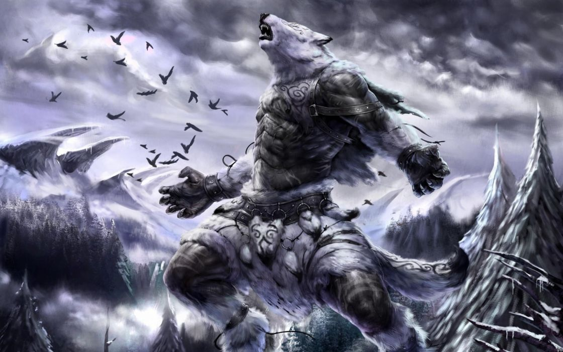 Art animal fantasy mountains snow winter lymronia birds forest howling fur landscapes bears armor monster sky wallpaper