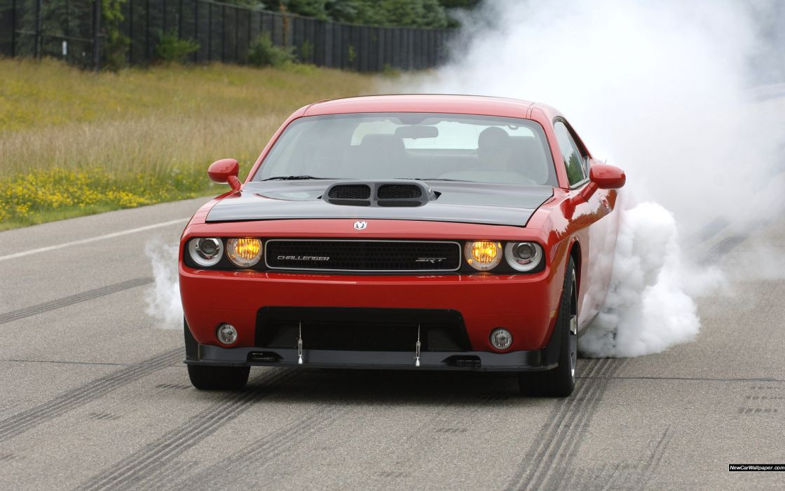 Dodge Challenger SRT10 Concept muscle cars burnout smoke roads wallpaper
