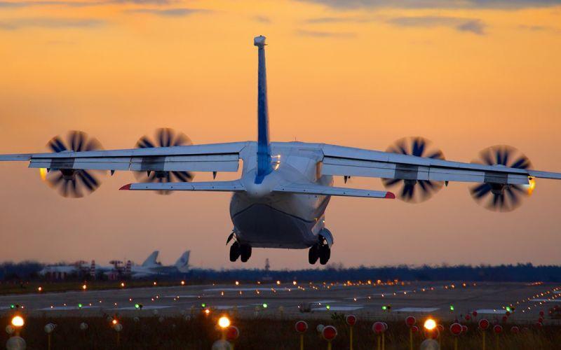Antonov An-70 transport military airplane sunset sunrise sky wallpaper