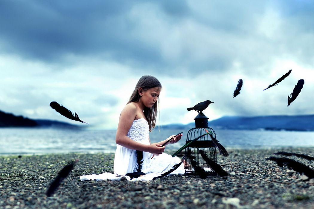 mood alone emotion girl feathers birds revens crow cage beaches lakes landscapes sky clouds wallpaper