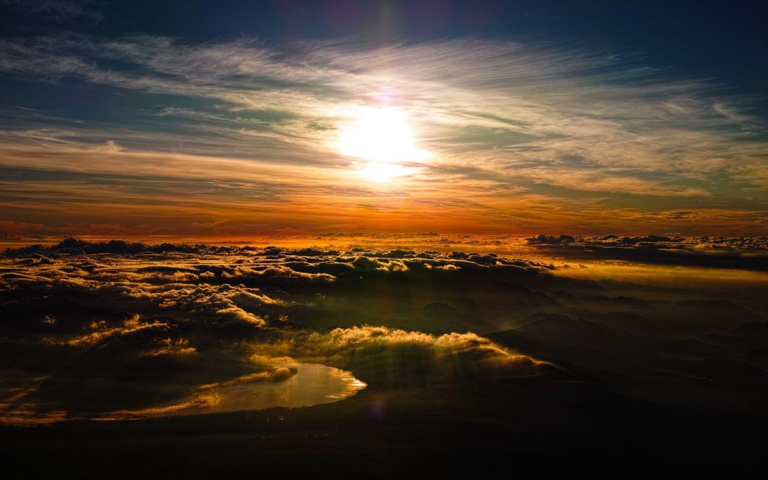 rivers fog mist clouds sky sunset sunrise dawn morning evening night wallpaper