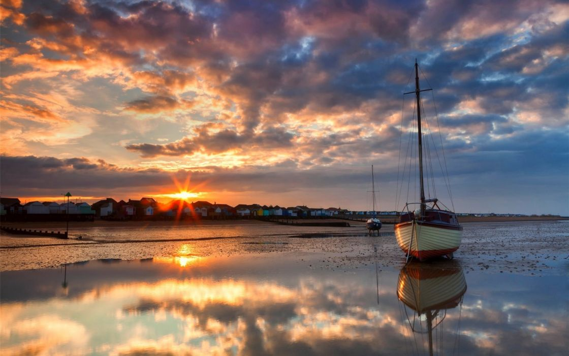 lakes ocean sea bay harbor water reflection sky clouds sunset sunrise landscapes boat wallpaper