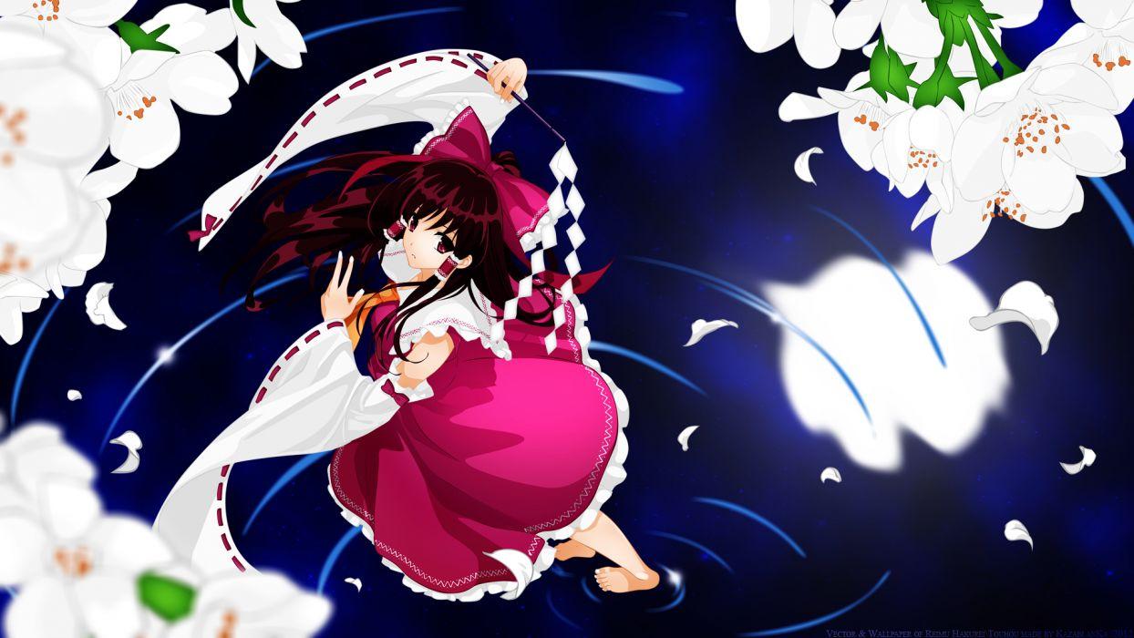 Touhou Game Reimu Hakurei Character Vector Art girl flowers blossoms water petals wallpaper