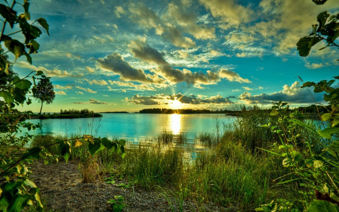 landscapes lakes water reflection plants shore beaches sky clouds sunset sunrise wallpaper