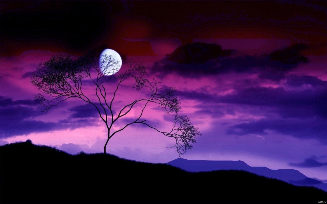 art nature landscapes hills mountains sky clouds night dusk moon purple wallpaper