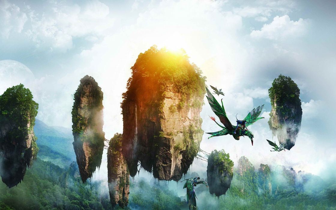 Avatar fantasy art sci fi science dragonslandscapes islands dream jungle trees forest sky clouds wallpaper