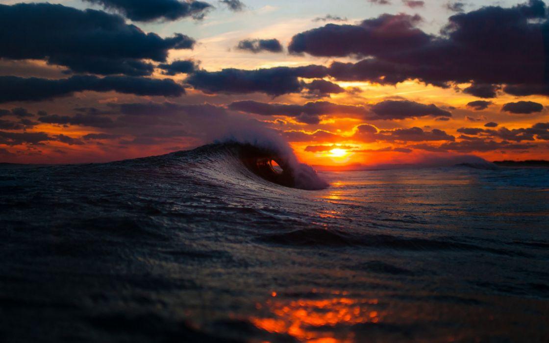 ocean sea waves sunset sunrise sky clouds spray splash drops wallpaper